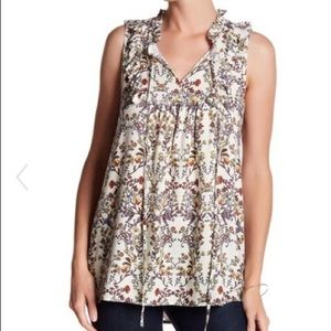 Pleione Blouse Peasant Tank Top Ivory Floral NWT